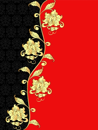 illustration decorative background with gold(en) pattern with flower Vector