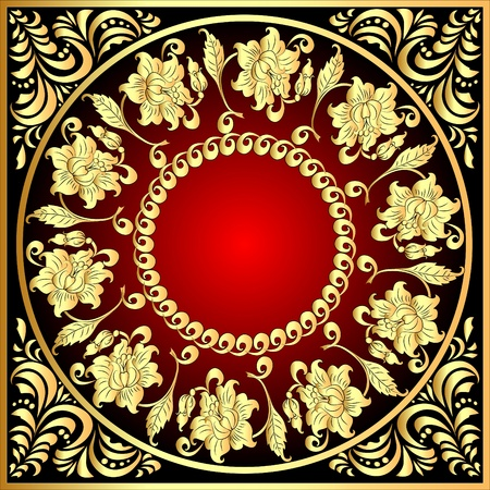 illustration decorative frame background with gold(en) pattern with flower Vector