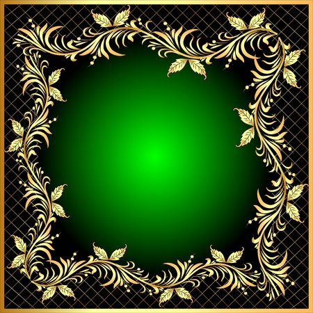 illustration decorative frame background with gold(en) pattern with net Vector
