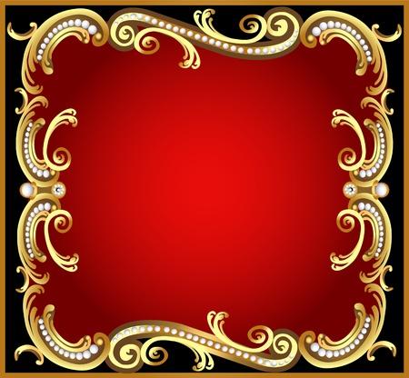 eleganz: Abbildung dekorativen Rahmen mit Muster gold pearl Illustration