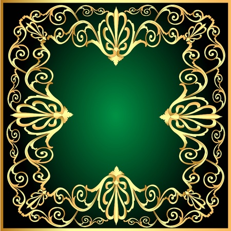 illustration vintage background frame with gold(en) pattern Vector