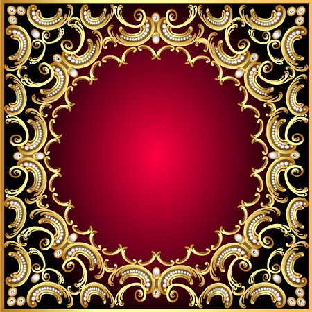 illustration background frame with pearl and gold(en) pattern Stock Vector - 11287496