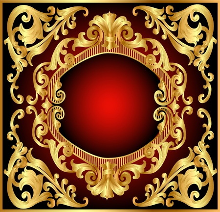 illustration background frame red with gold(en) pattern Vector