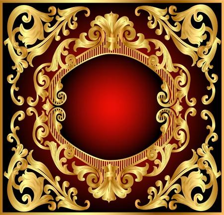 fleur: ilustraci�n de fondo rojo con marco de oro (es) modelo