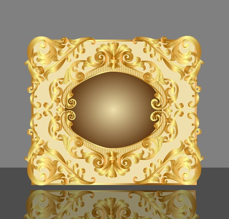 illustration background frame with gold(en) pattern and reflection Vector