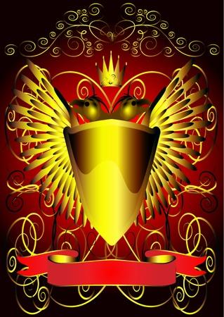 aigle royal: illustration de fond avec le bouclier d'aigle et de bandes