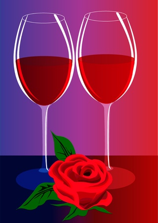 illustration goblets with wine and flower  Vector