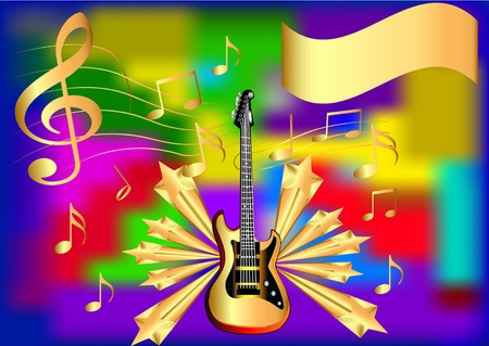 pop star: illustration background with star note and guitar