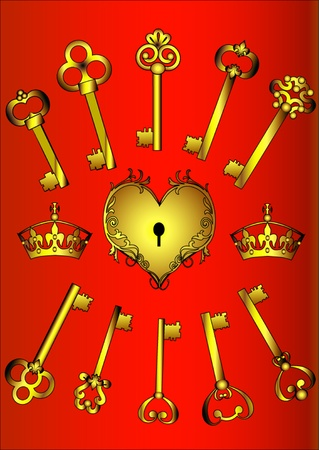 illustration set key and heart on red Stock Vector - 11287510