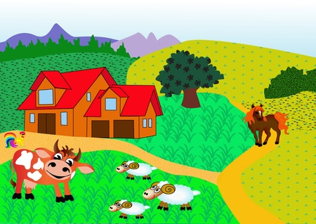 illustration farm with animal by horse by cow, nanny goat and cock