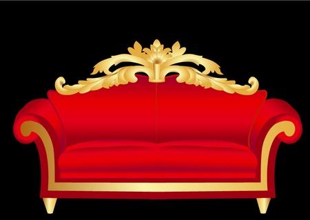 red couch: illustrazione rosso divano con pattern su fondo nero