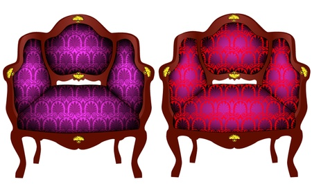 illustration two chairs with gold detail Illustration