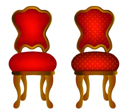 illustration two red chairs with pattern Vector