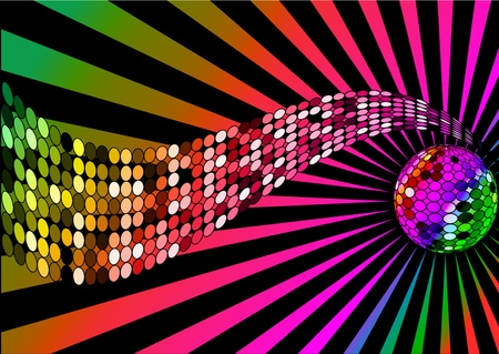 polyphony: illustration background disco ball and wave