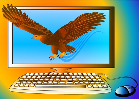 computer mascot: illustration powerful computer as strong eagle flying from monitor
