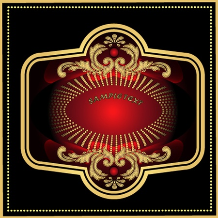 illustration label red with black gold and pattern Vector