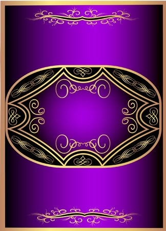 illustration violet with gold label with pattern Vector