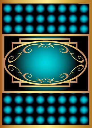 illustration blue with gold label with rhombus Vector