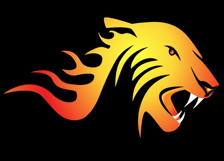 illustration powerful burning tiger on black background Vector