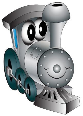 maquina de vapor: ilustraci�n infantil juguete alegre locomotora est� aislado Vectores