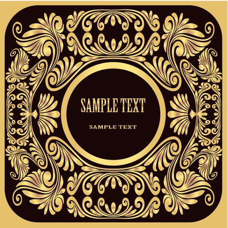 illustration background black with gold  pattern and inscription Vector