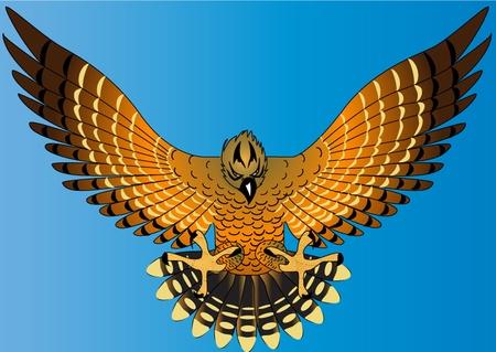 Illustration voler puissante aigle sur fond devient bleu