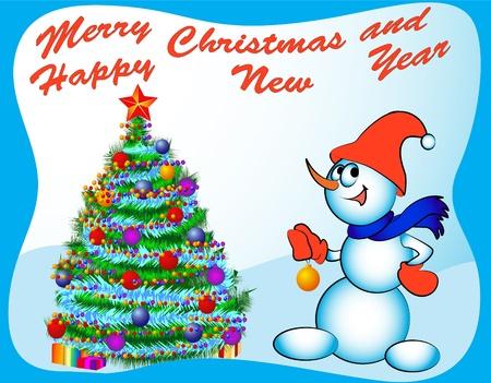 snowman dresses fir tree festive ball and toy humour Stock Vector - 11289403