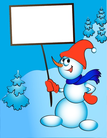 illustration merry snowman keeps in hand billboard Stock Vector - 11289401
