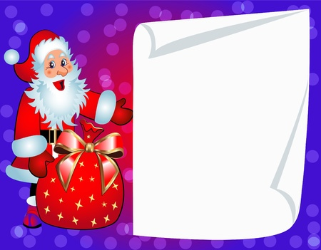 illustration santa with bag and clean paper for invitation Vector