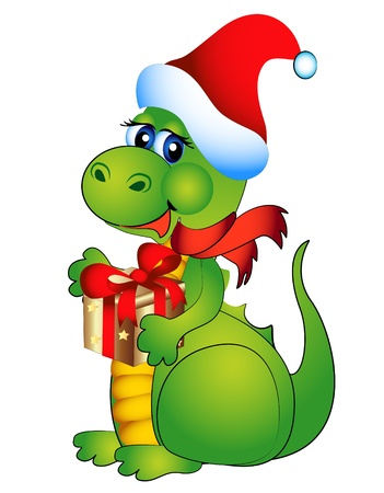 christmas dragon: illustration new years merry dragon with gift