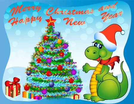 fake christmas tree: illustration merry dragon with fir tree and gift