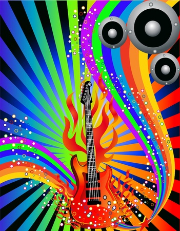 illustration music background with guitar and rainbow Vector