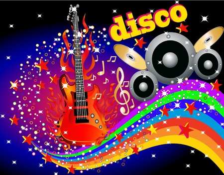 illustration music background with guitar speaker and rainbow Vector