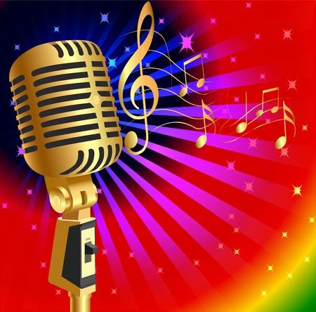 microfono radio: ilustraci�n de fondo la m�sica de oro (es) y Mike nota Vectores