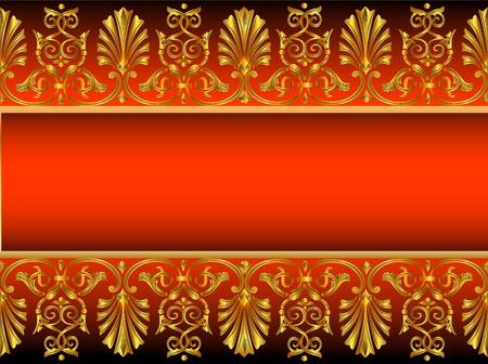 black history: illustration frame background with gold(en) antique pattern
