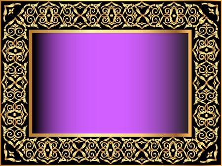 illustration violet background with gold(en) antique pattern Vector