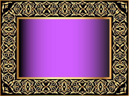arte greca: illustrazione sfondo viola con l'oro (en) modello antico