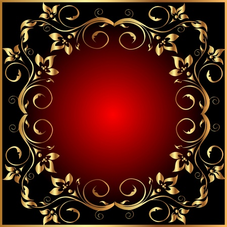 illustration retro frame background with gold(en)  pattern Vector