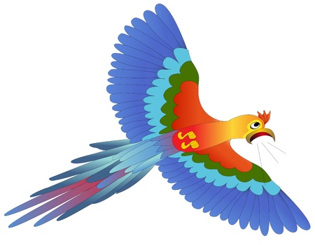 illustration screaming afraid blue parrot flies on white Vector