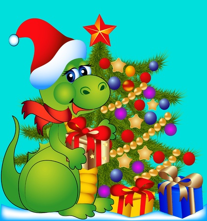 year of the dragon: illustration merry dragon with fir tree and gift