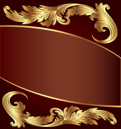 illustration brown background with gold(en) pattern Vector