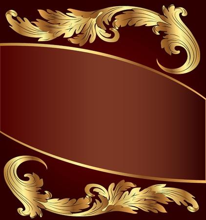 illustratie bruine achtergrond met goud (en) patroon