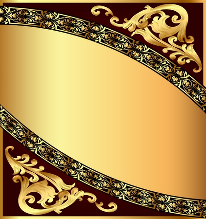 illustration chocolate background with gold(en) pattern Vector
