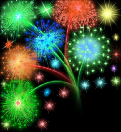 illustration salute firework on black background Stock Illustration - 11518004