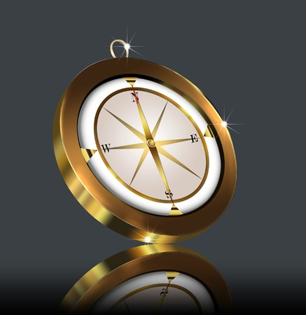illustration gold(en) compass on dark background illustration