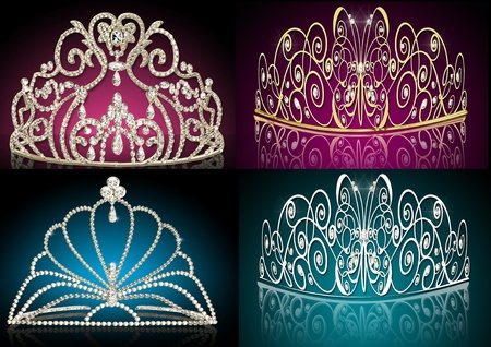 illustration set diadems feminine wedding with reflection Stock Illustration - 11518012