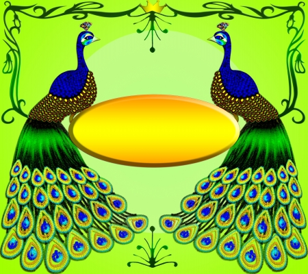 peacock pattern: Two peacocks with message on green background.