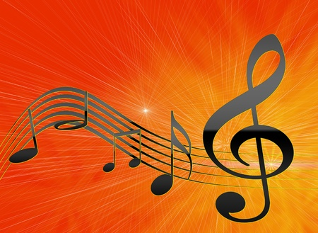 rock music background: The Illustration of the background with brilliant note and line. Stock Photo