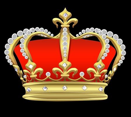 koninklijke kroon: Illustratie een keizerlijke kroon met parels op een zwarte achtergrond.