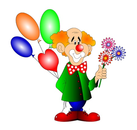 The Merry clown with ball and flower. Stock Photo - 11518061